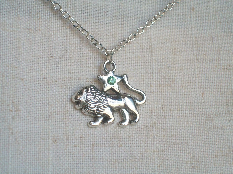 Leo lion necklace silver lion zodiac jewelry astrology light