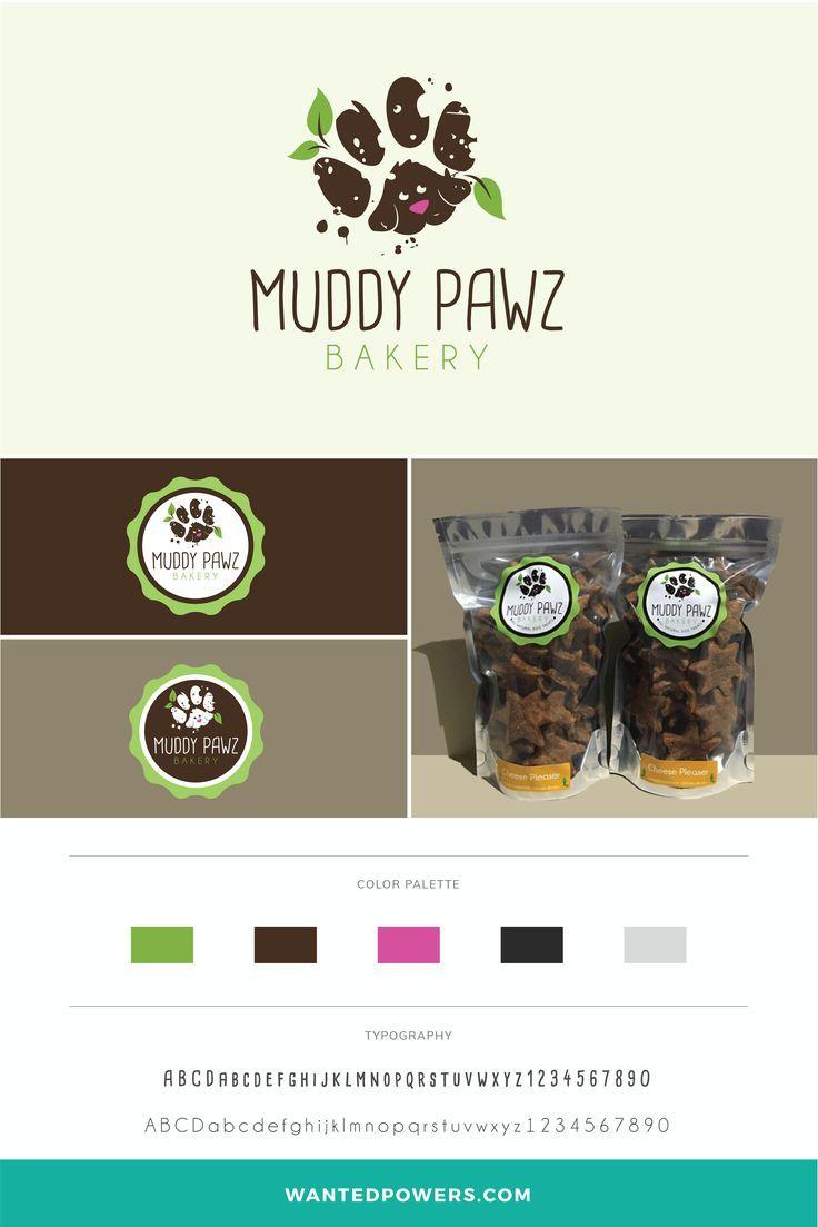 Muddy Pawz Logo Dog Treat Packaging Bakery Logo Paw Logo