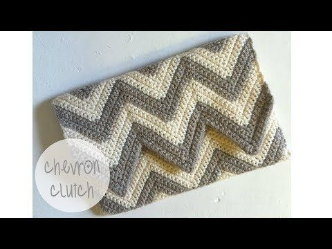 Chevron Clutch - YouTube #singlecrochet