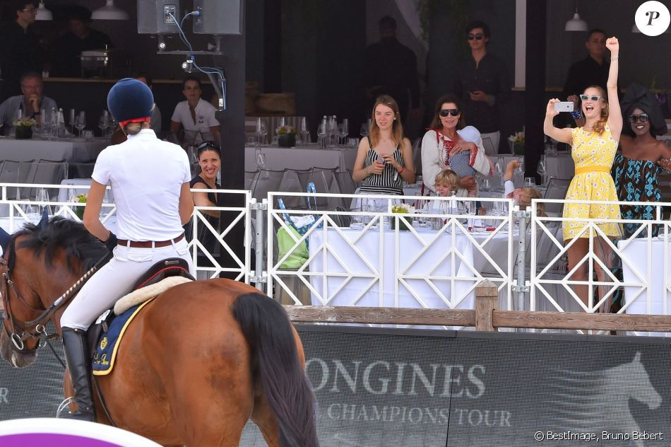 23 June 2017 - Princess Beatrice gives support to her sister Matilde Borromeo at Jumping International in Monte-Carlo