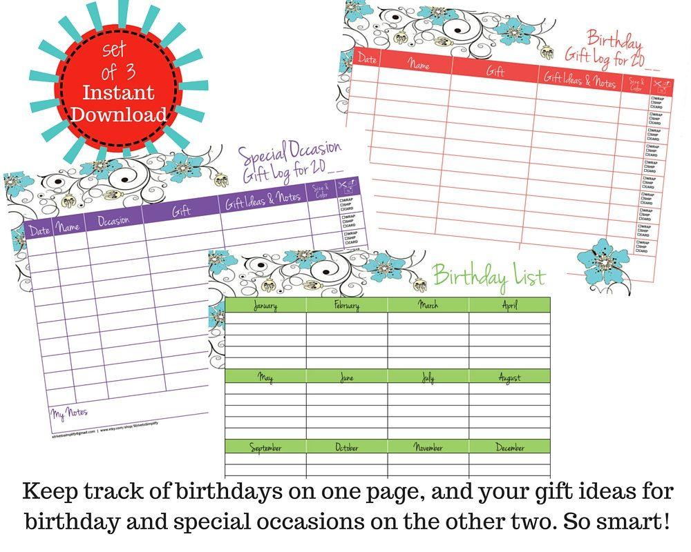 set of 3 birthday list birthday gift log special occasion gift