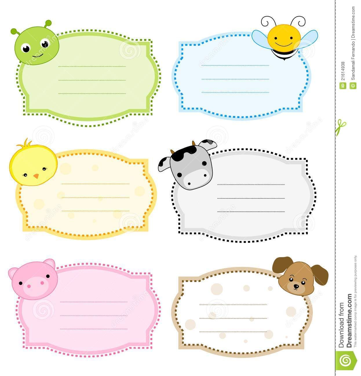 Animal Label Frame Nametags For Kids Name Tags School Labels Printables