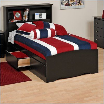 Prepac Sonoma Black Twin Platform Storage Bed With Drawers Bed