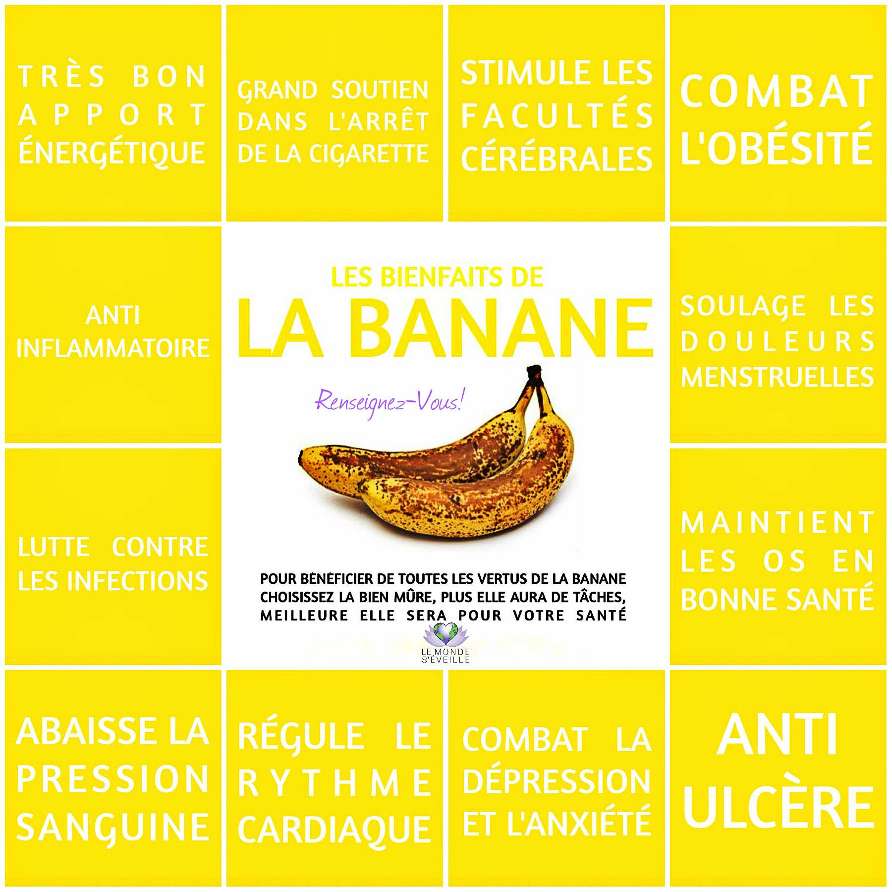 banane sant pinterest bienfaits de la banane la banane et veill. Black Bedroom Furniture Sets. Home Design Ideas