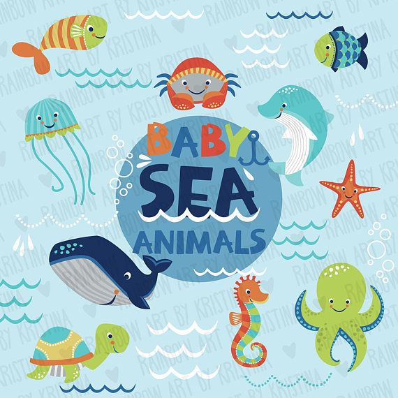 Ocean baby. Sea animals transparent clip