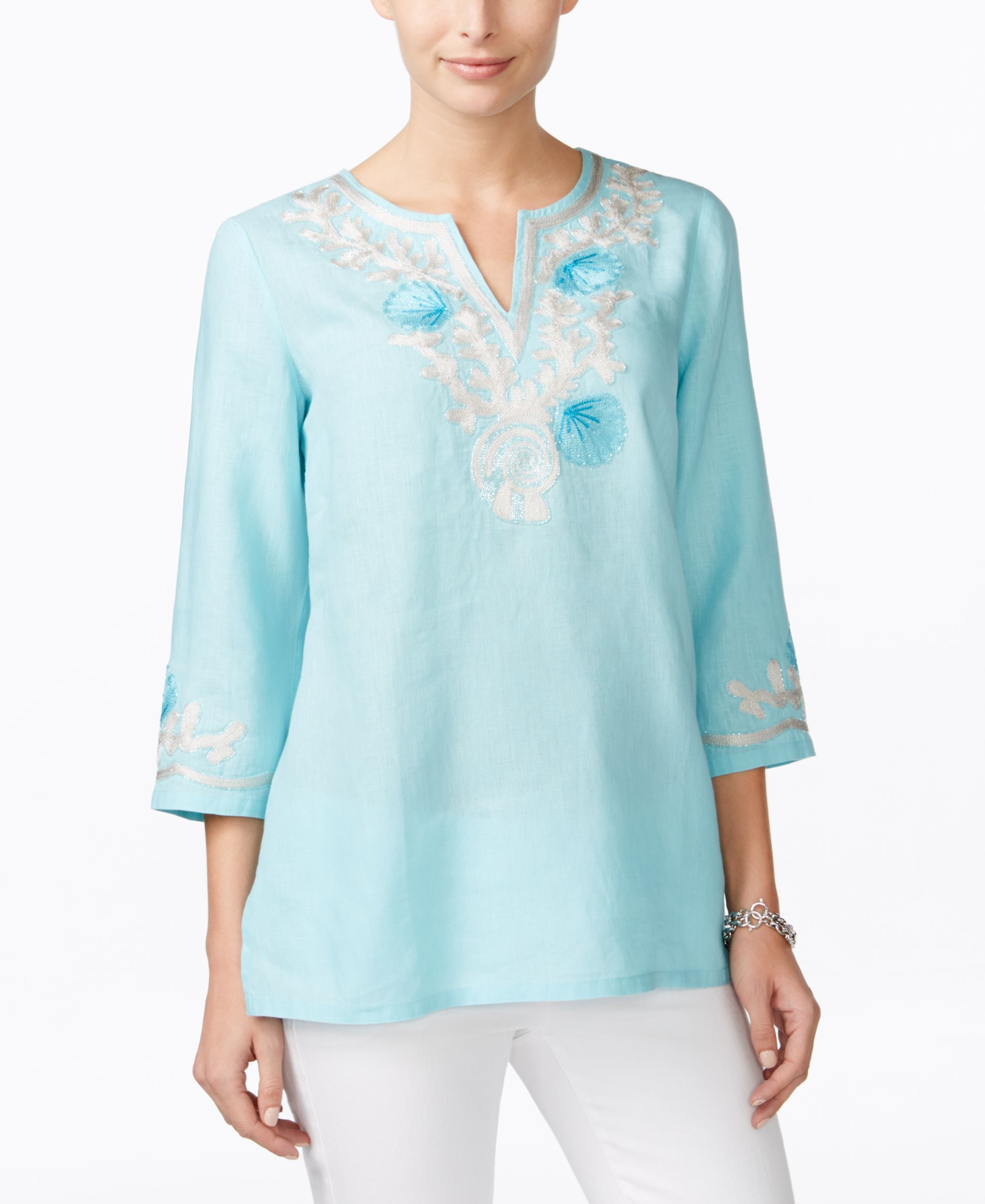 6314547585c Charter Club Seashell Embroidered Linen Tunic, Only at Macy's | Products