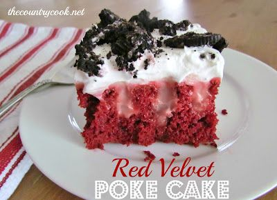 Red Velvet Poke Cake: 1 box Red Velvet cake mix + ingredients needed to make cake (eggs, oil & water),  2 (3.4 oz.) boxes instant Cheesecake-flavored pudding, 4 c milk,  8 oz. frozen whipped topping, thawed,  10 Oreo cookies, crushed (optional).