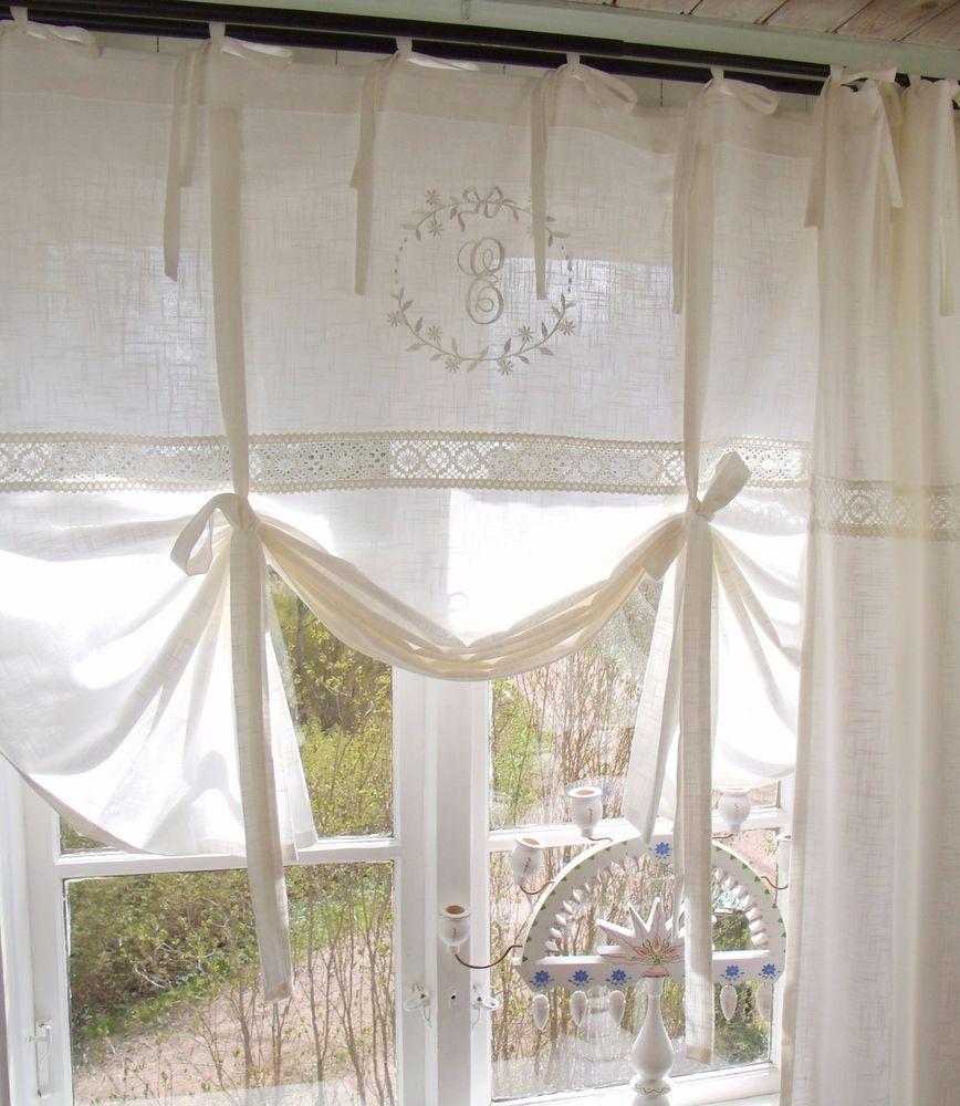 Raff Gardine Emilia Offwhite 160x120 Bestickt Shabby Lillabelle Landhaus Curtain Mobel Wohnen Rollos Gardinen Landhausstil Vorhange Landhausstil Gardinen