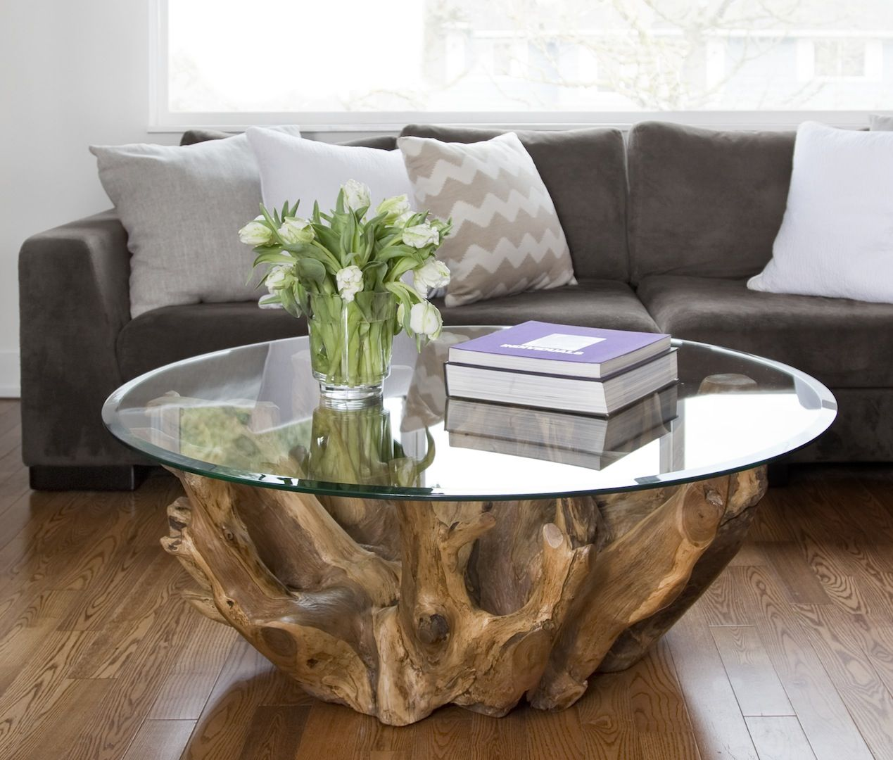 Rustic One Of A Kind Natural Teak Wood Slab Coffee Table: Root Coffe Setting 1