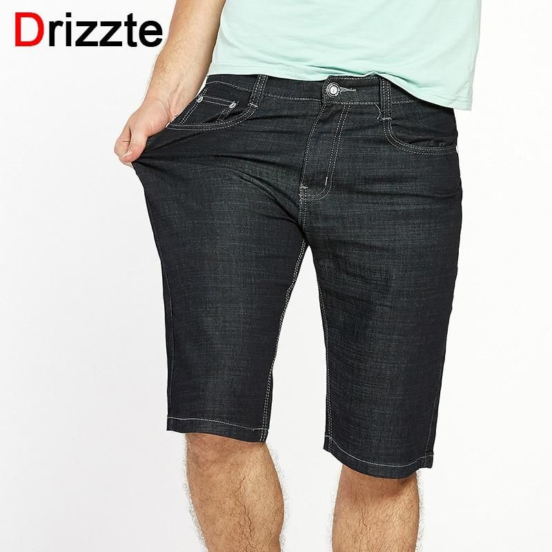 4ec07ffb6960f Drizzte Men Plus Size 40 42 44 46 48 50 52 Stretch Denim Large Big Jeans  Shorts Black Blue Jean Trousers Pants For Summer