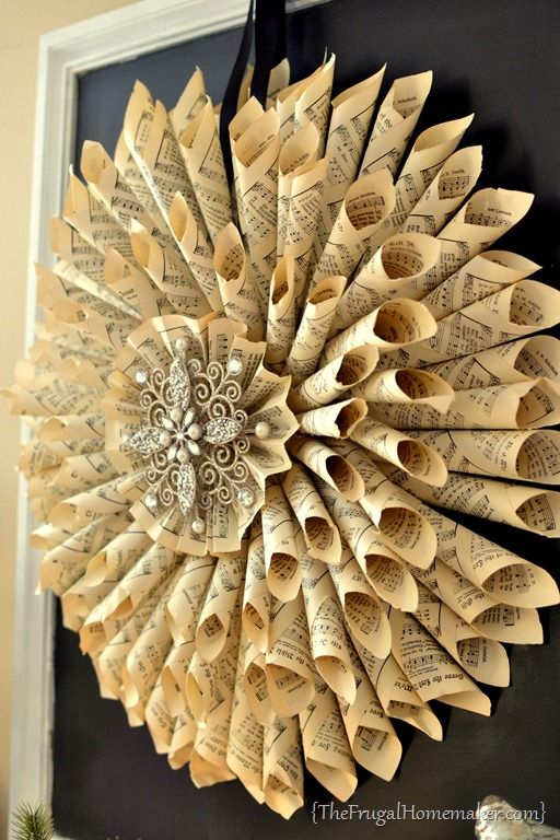 Homemade Vintage Music Book Page Wreath Sheet Music Crafts Old Book Crafts Recycled Paper Crafts