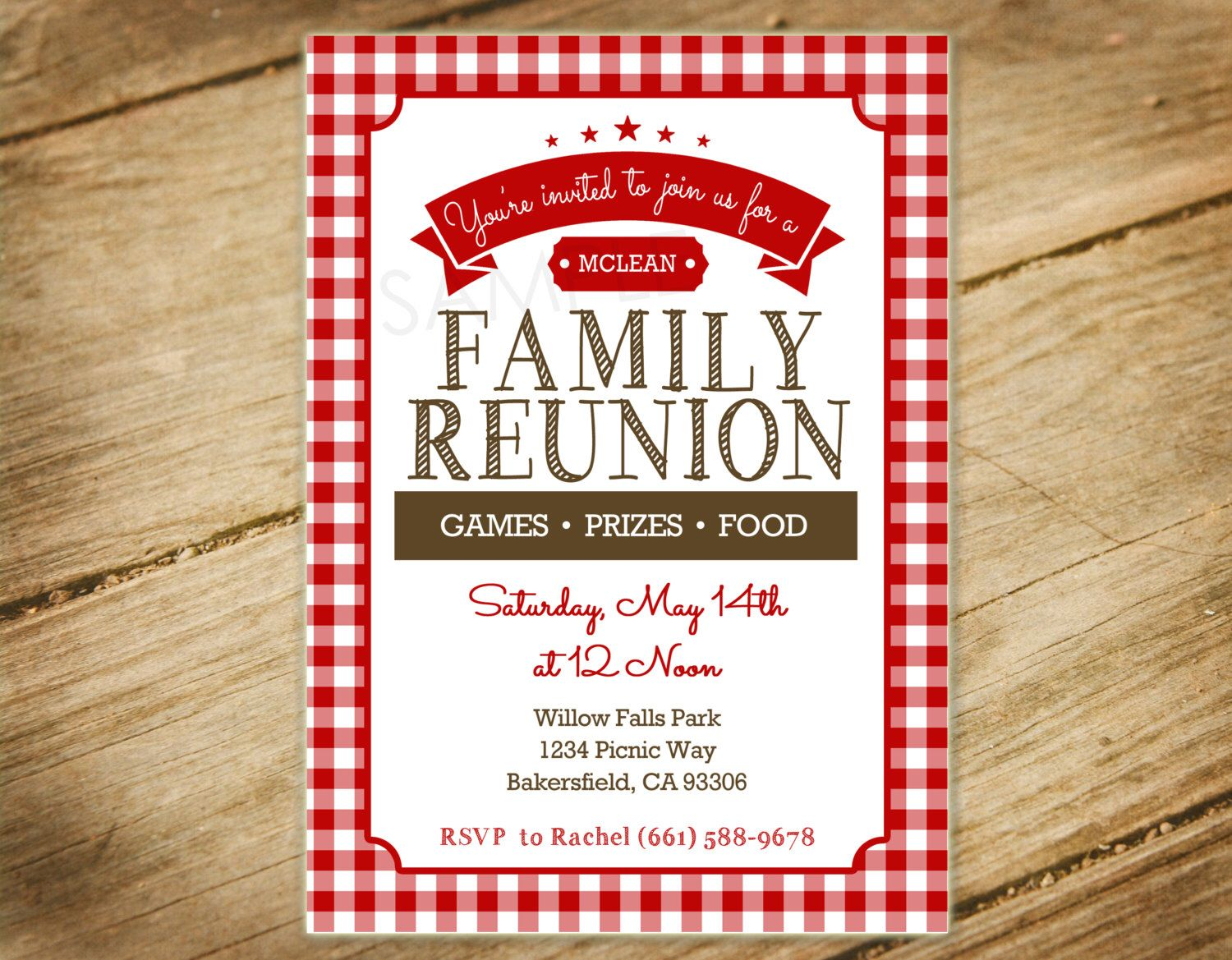 Family Reunion, Picnic, BBQ, Red and White Checkers Picnic Themed ...