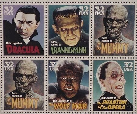 classic Halloween Movie posters   Classic movie monster stamps ...