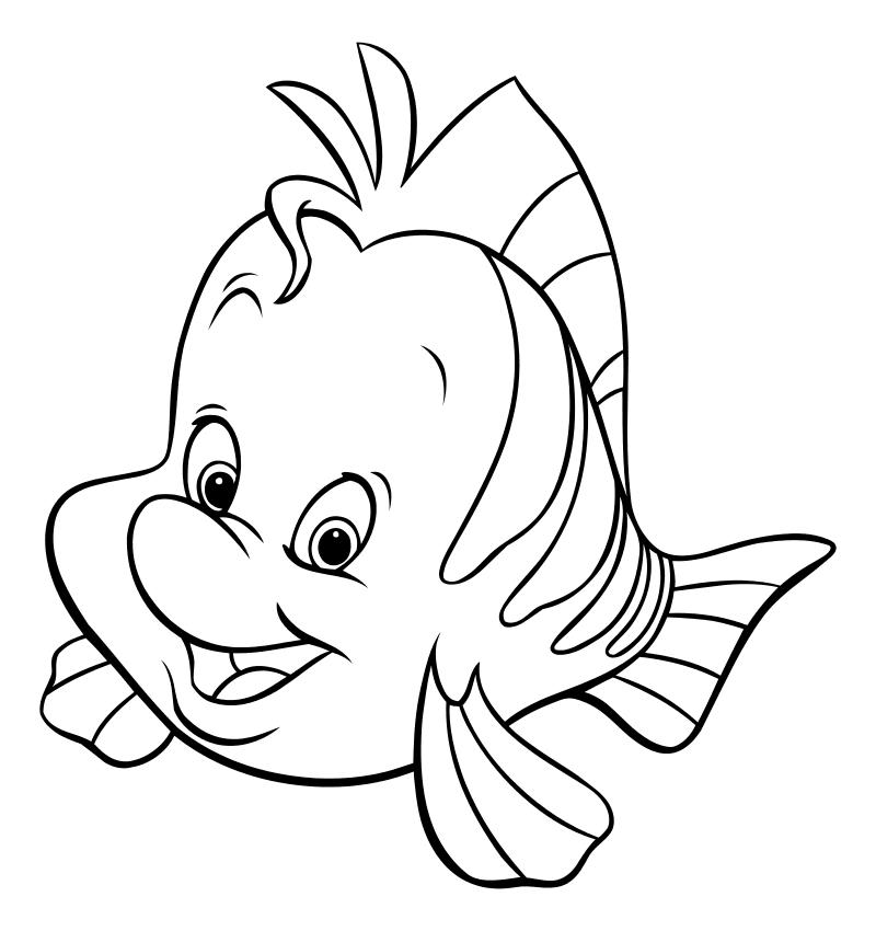 Раскраска - Русалочка - Рыбка Флаундер - лучший друг ...