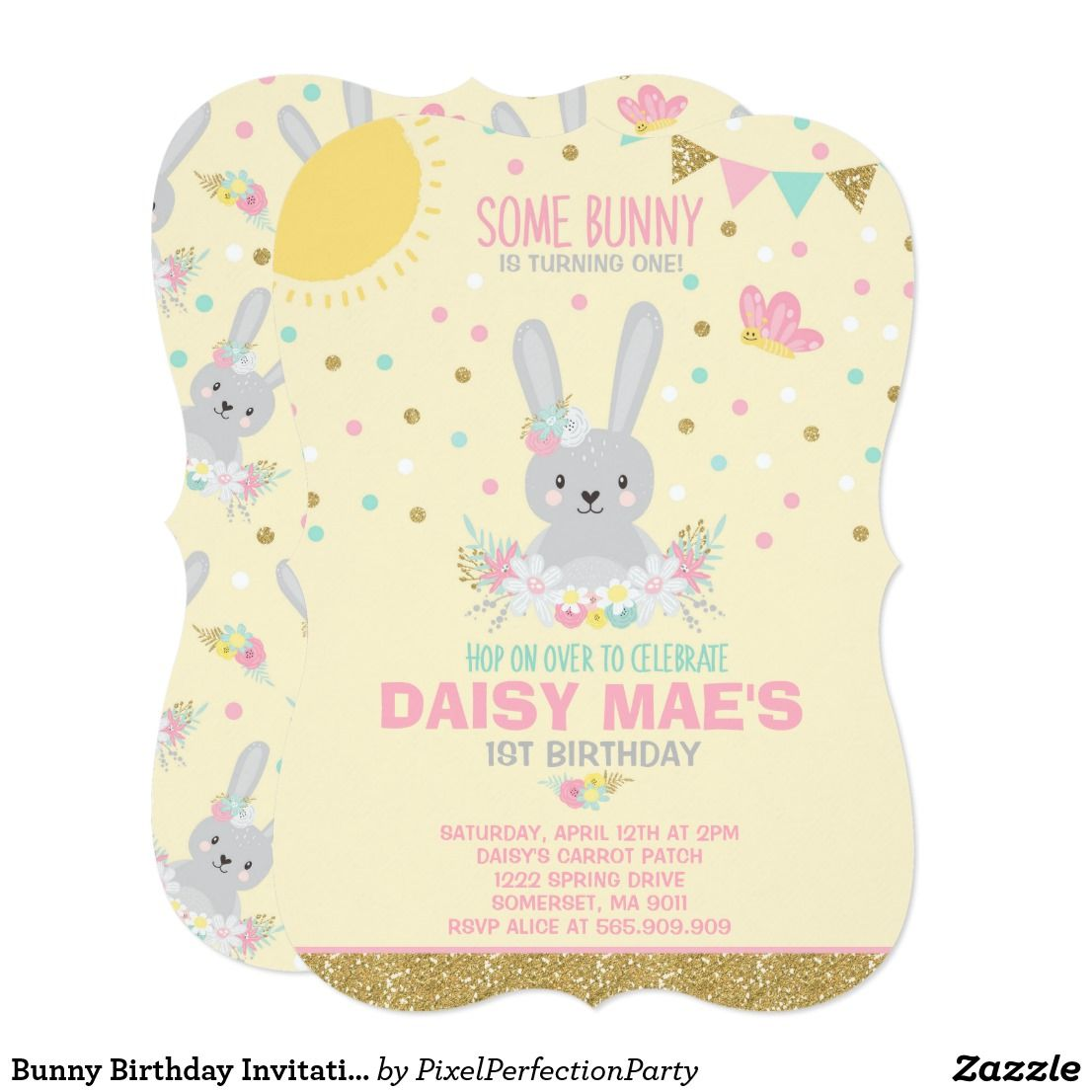 Bunny Birthday Invitation Some Bunny Birthday Bunny Birthday ...