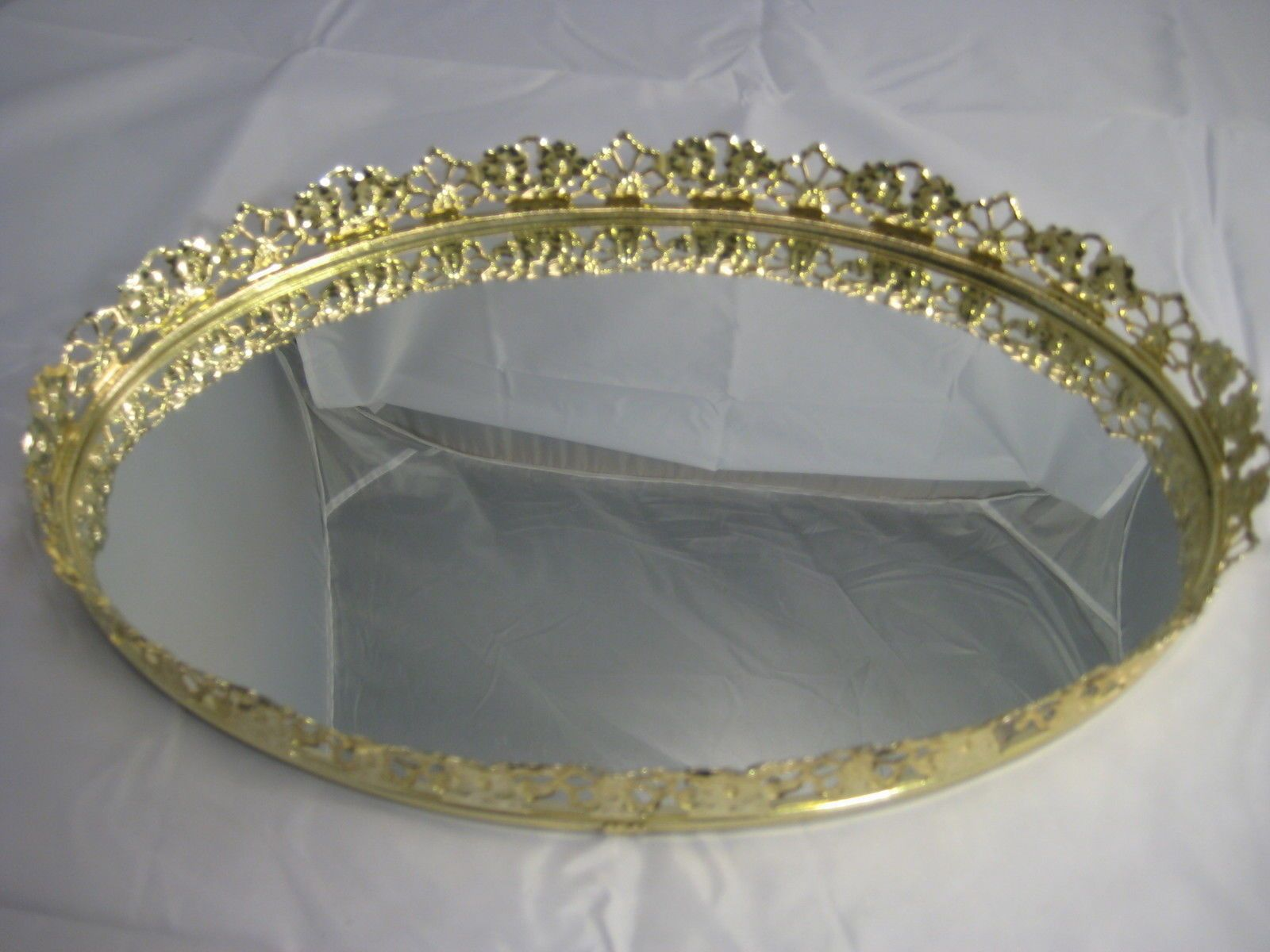 Antique vanity tray with lace insert - Victorian Tray Vintage Mirror Vintage Vanity Mirror Tray Oval Shape Gilded Floral Edge Victorian