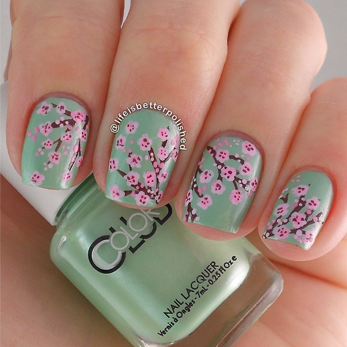 Cherry Blossom Nail Design by Life Is Better Polished - Cherry Blossom Nail Design By Life Is Better Polished Nail Art