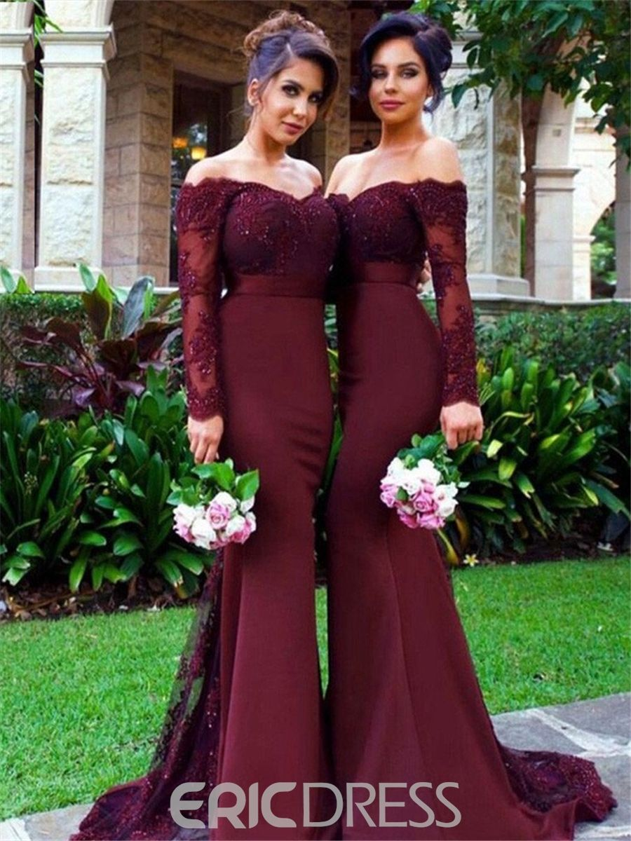 Long sleeves mermaid off the shoulder appliques bridesmaid dress