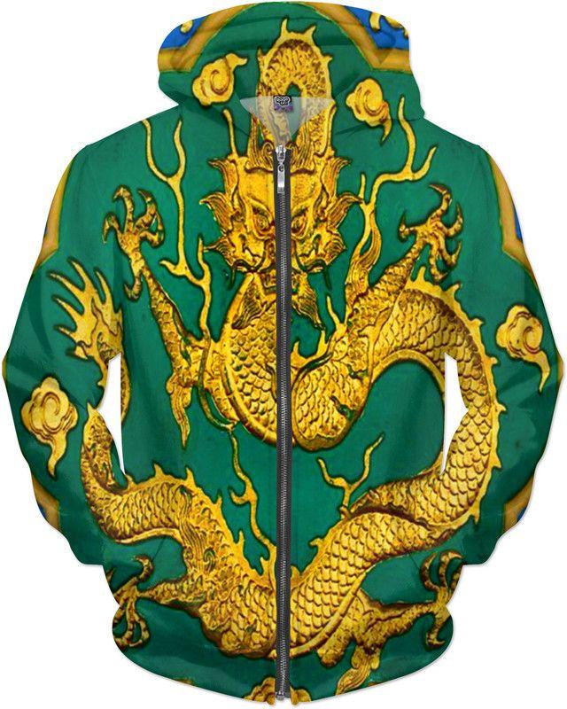 Jade Emperor Dragon Custom Ninja Scroll Revolution Style Zip Hoodie by Willy Badu.