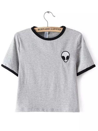 Grey Crew Neck Alien Print Crop T-Shirt EmmaCloth-Women Fast Fashion Online
