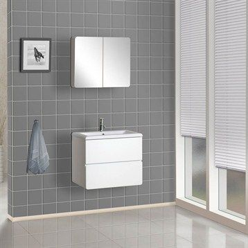 Bath Authority DreamLine Wall Mounted Modern Bathroom Vanity With Porcelain  Counter And Medicine Cabinet