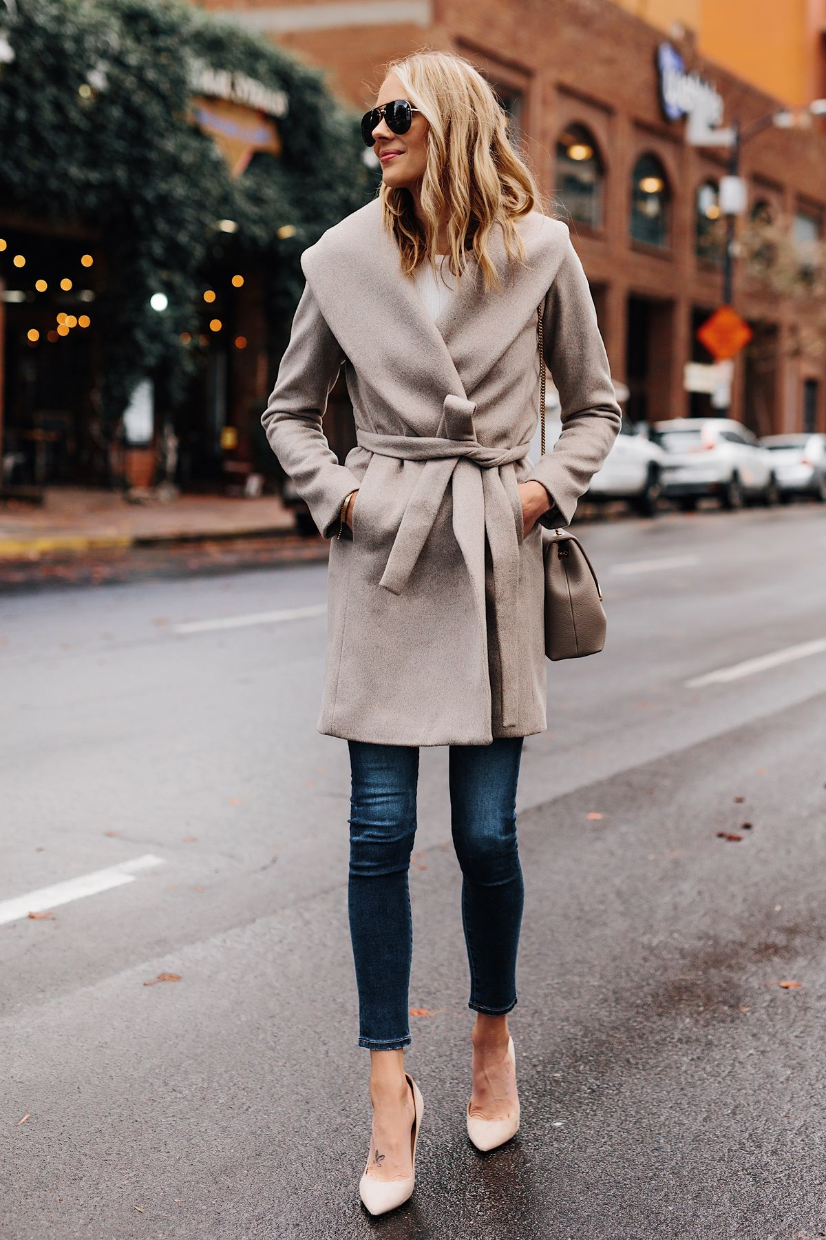f489fb2f3a Blonde Woman Wearing Ann Taylor Beige Wrap Coat Denim Skinny Jeans Beige  Pumps Outfit Fashion Jackson San Diego Fashion Blogger Street Style