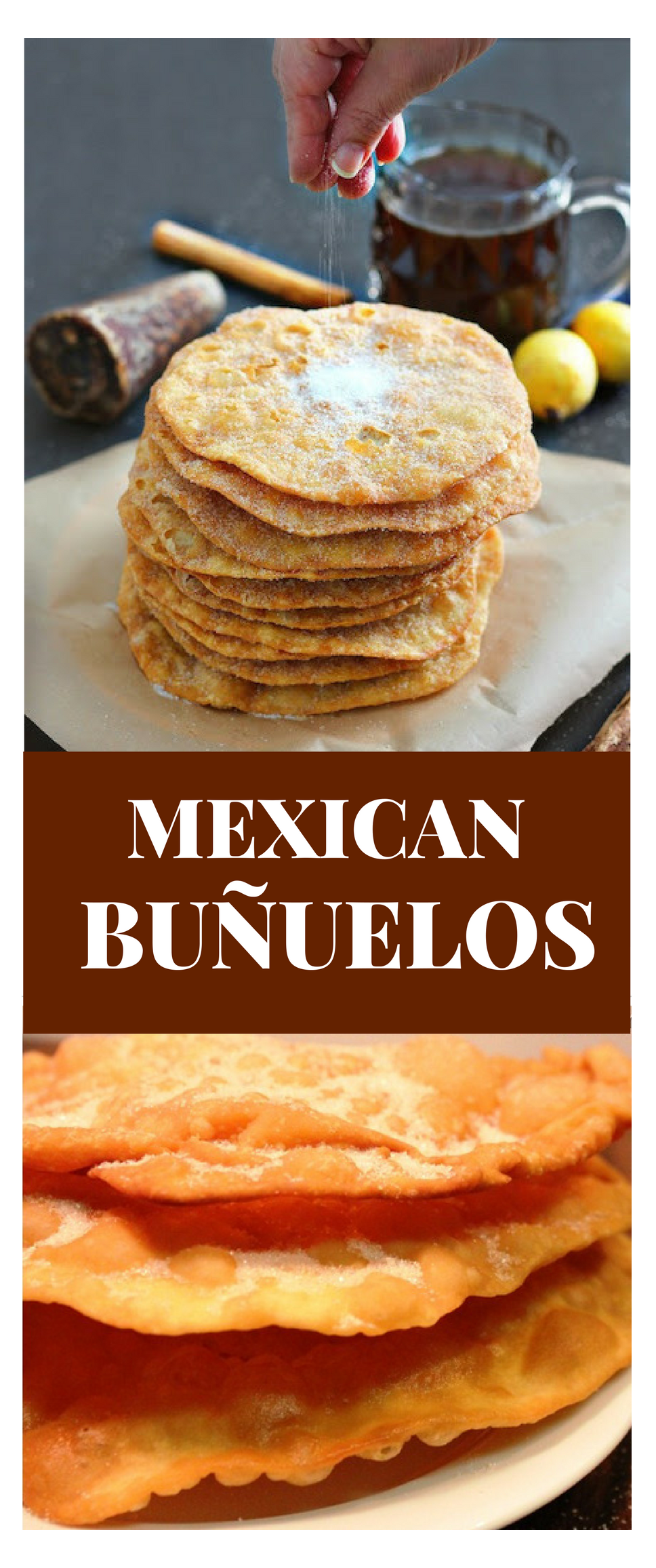 How to make mexican buñuelos #mexicanfoodrecipes These light, crispy, and sweet round disc are sprinkled with sugar or bathed in piloncillo syrup. #mexican #food #christmas #food #mexicanfoodrecipes #mexicanfoodrecipes