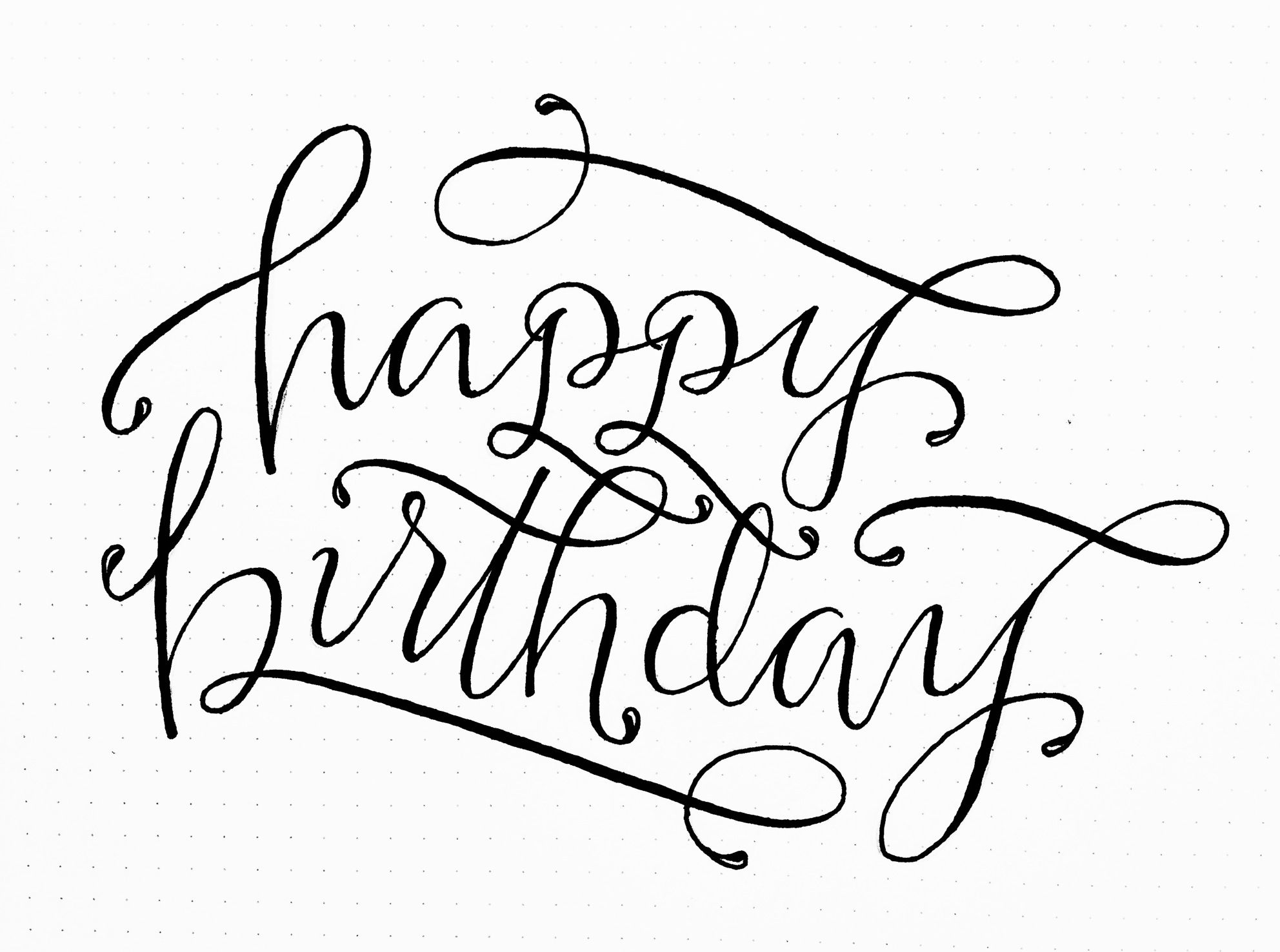Happy birthday sign in elegant black script type with ornament -  Iiiii Happy Birthday Lettering By Torrie T