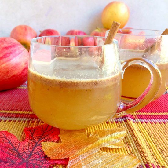 Hot Cider Buttered Rum- Hot Cider, Spiced Rum, And Apple