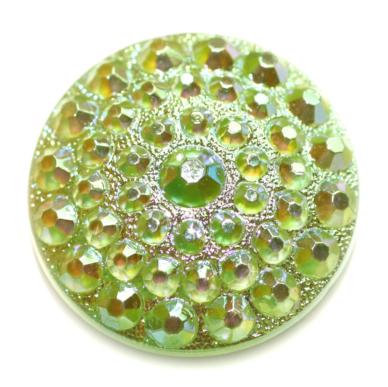 Button - Glass Lime Green with Aurora Finish Moonglow Vintage - Medium by KPHoppe on Etsy