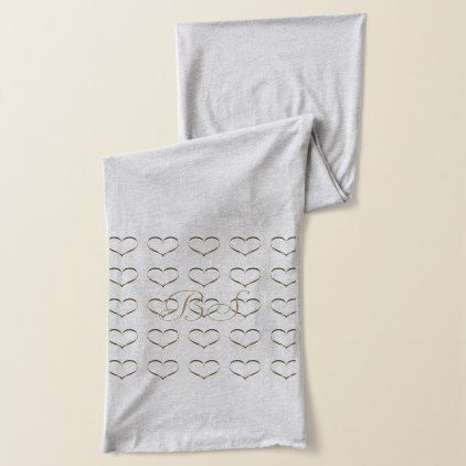 Chic Gold Heart Add Initials Scarf - chic design idea diy elegant - Sample Address Book Template
