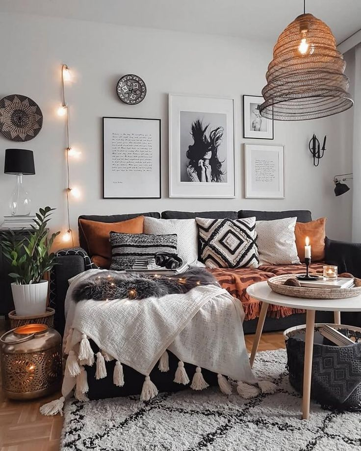 Boho dark grey and white interior in this room is encompassed by agreeable seats and plenty of wall paintings on the dividers. This unique structure w… – Pin Decor