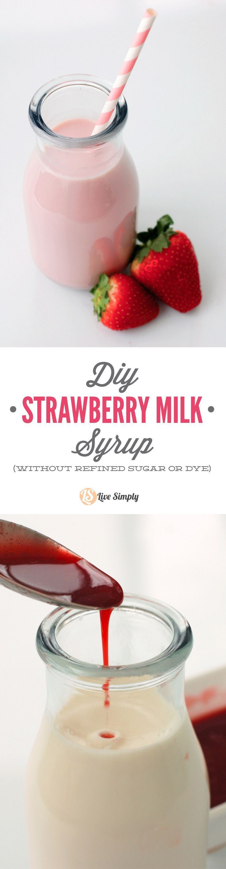 Strawberry Syrup For Strawberry Milk (Dye and Refined Sugar Free!) The BEST COPYCAT real food strawberry milk syrup recipe! Just 3 ingredients and made without any refined sugar or artificial dye! A real fruit strawberry milk syrup you can feel good about serving your kids! Strawberry Syrup For Strawberry Milk (Dye and Refined Sugar Free!) The BEST COPYCAT real