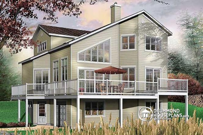 W3934 - Panoramic 3 bedroom cottage with mezzanine and one-car - new blueprint for 3 car garage