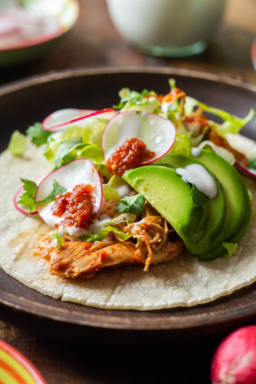Crock pot chicken tacos are full of flavor and prepped in