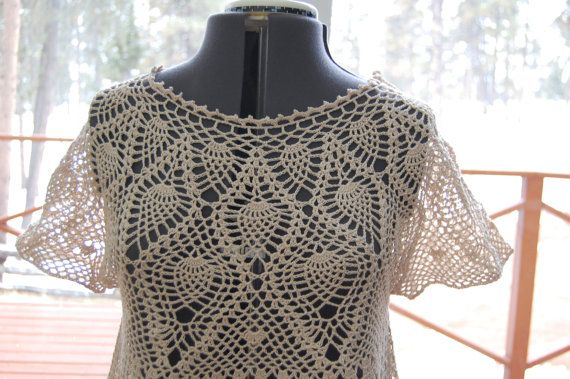 Crochet Blouse Crochet Lace Pineapple Yoke Size Medium Crochet