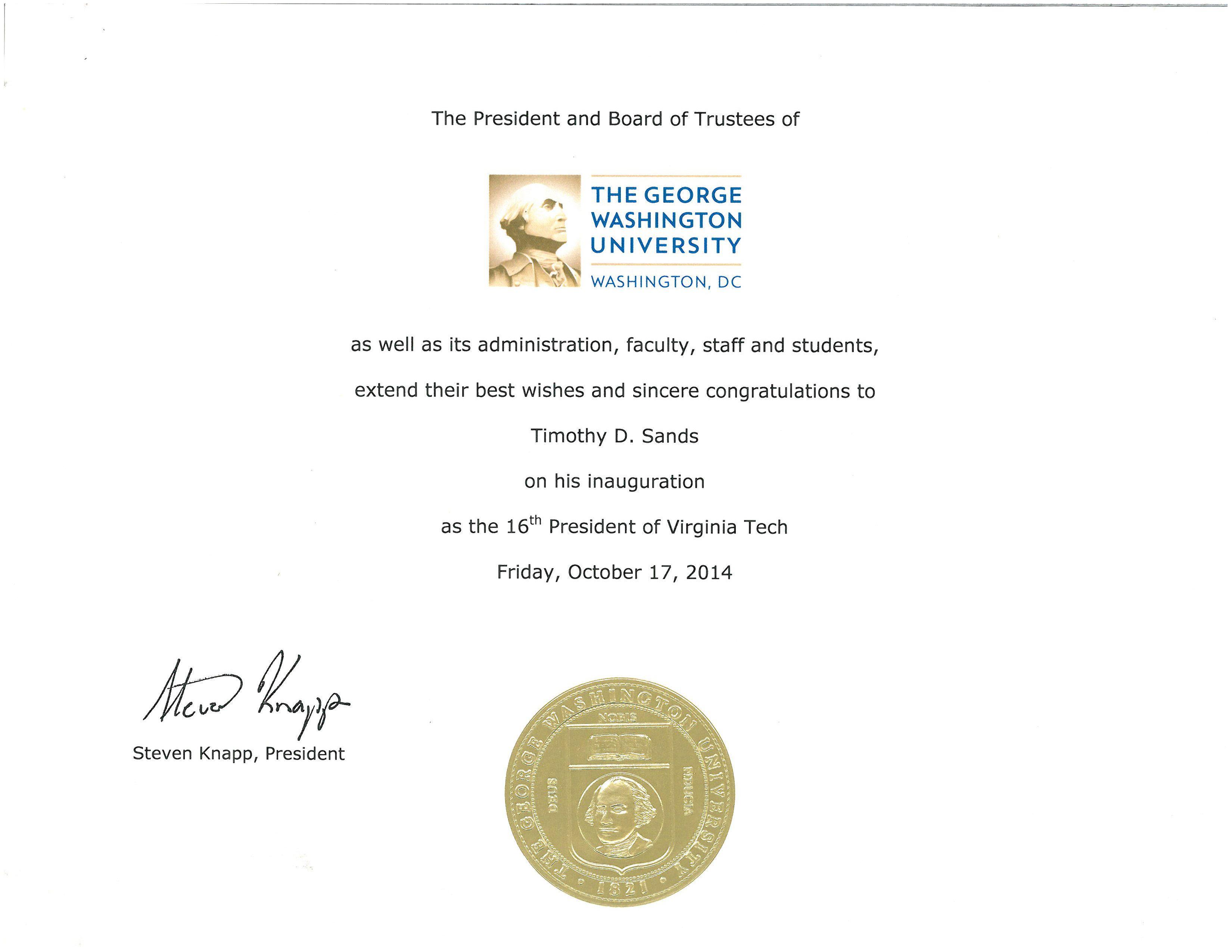 Resolution From The George Washington University