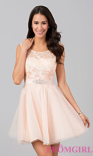 f51ee893b6d Sleeveless Short Party Dress at PromGirl.com for eighth grade graduation