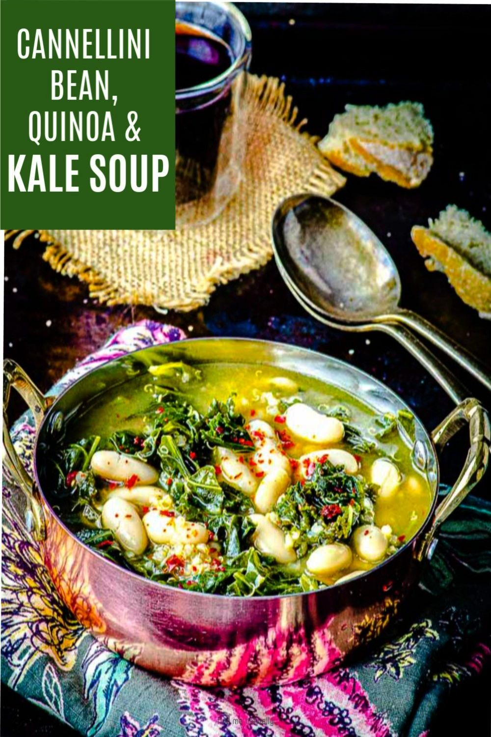 warm, filling and comforting this kale soup with cannellini beans and quinoa will keep you full for