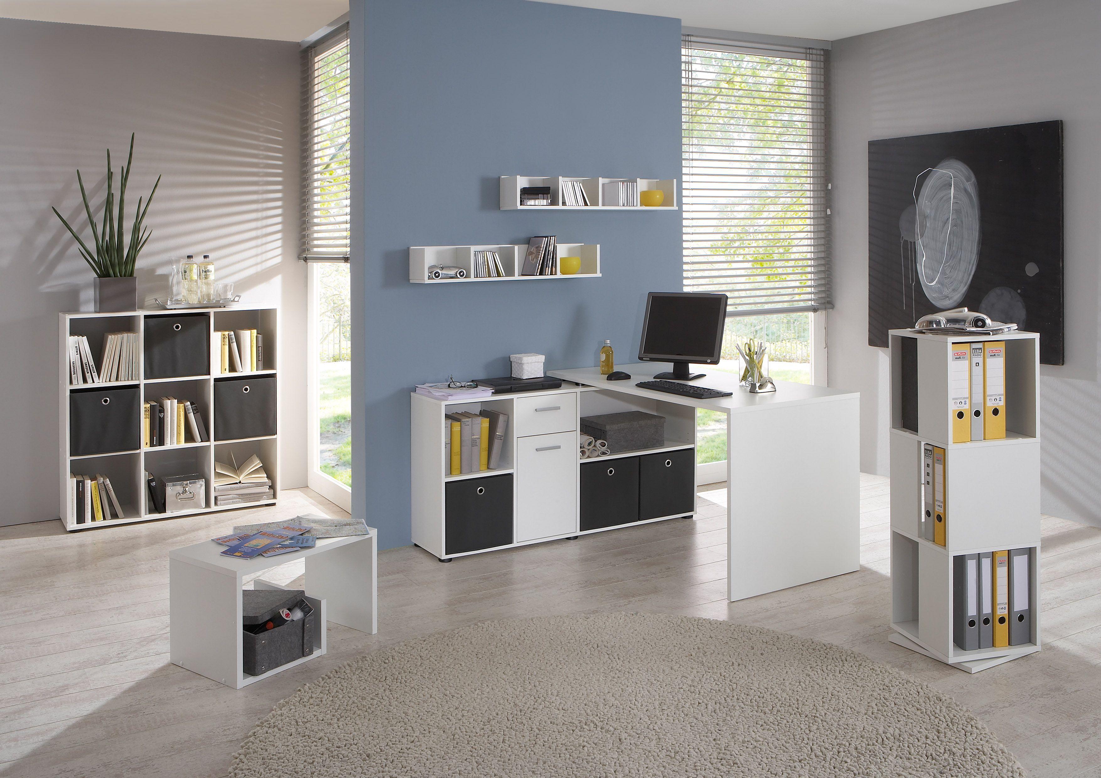 Moderne büromöbel weiss  Büromöbel Set Weiss Mit Schreibtisch Und Regalen Woody 70-00779 ...