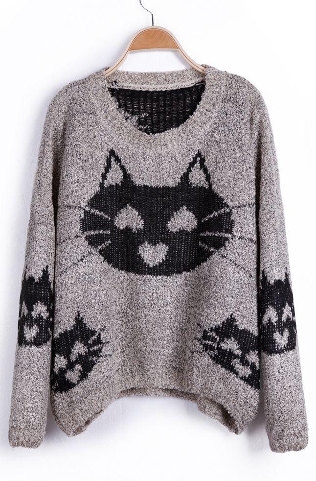 Grey Heart Cat Pattern Oversized Pullover Sweater - WANTWANTWANT ...