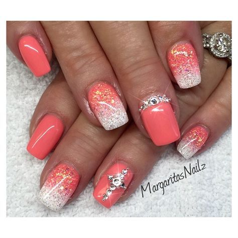 coral  whitemargaritasnailz in 2019  coral nails