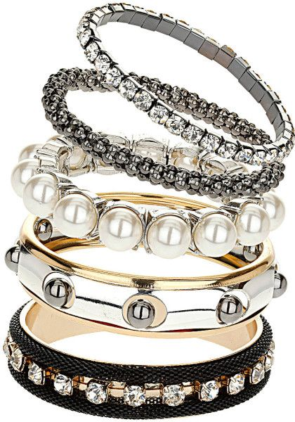 ♔ Topshop Silver Pearl and Mesh Bracelet Pack