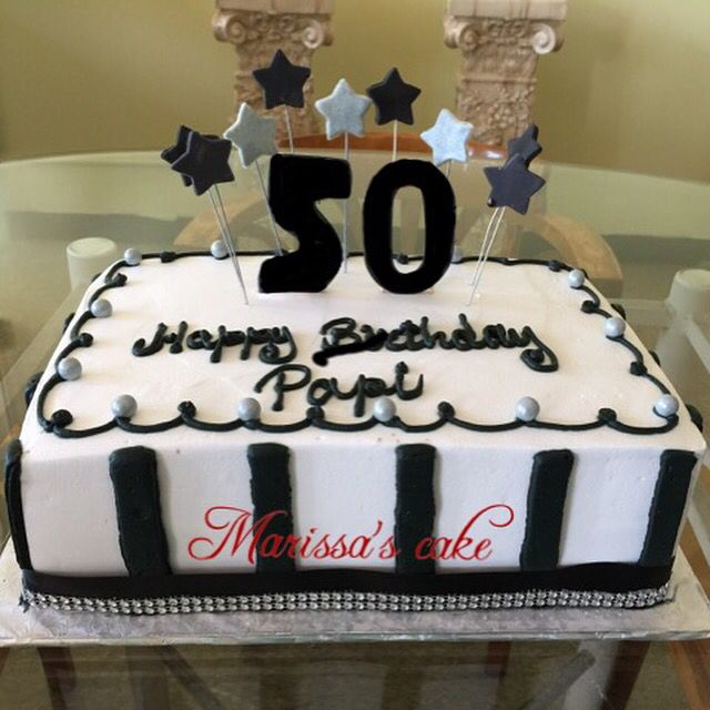 Black And White 50th Birthday Cake. Visit Us Facebook.com
