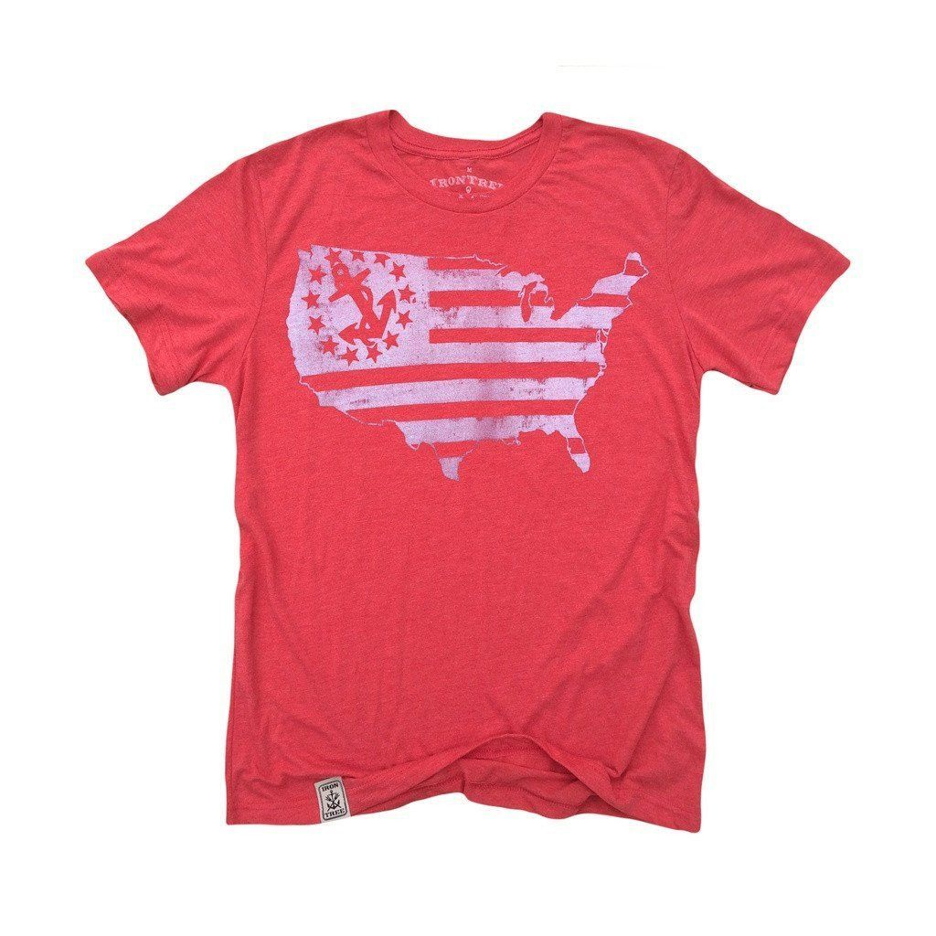 US Map Yacht Ensign: Tri-Blend Short Sleeve T-Shirt in Tri Red & White