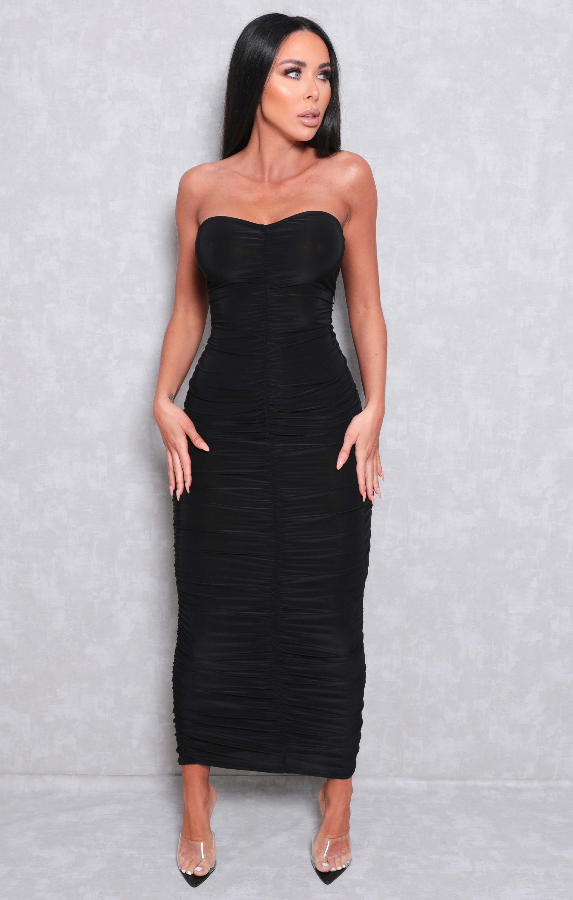 Black ruched strapless bodycon midi dress vita in 2020