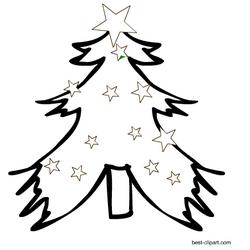 Black and white Christmas tree clip art | Christmas ...