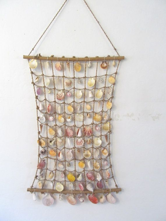 Vintage Seashell Curtain   Wall Hanging   Coastal Decor On Etsy