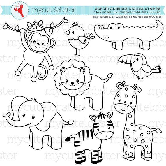 safari animals digital stamps  outlines line art
