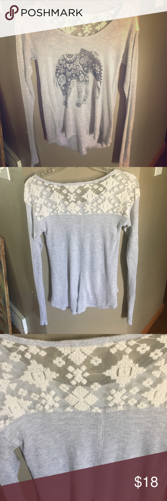 Long sleeve elephant Sweater This shirt is so adorable. Gray with elephant graphic on the front and a really cool lace yoke  in the back. This is a really lightweight sweater that can be easily worn from summer into fall junie and jade Sweaters Crew & Scoop Necks